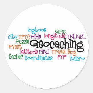 Geocaching Word Collage Round Sticker
