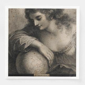 Geography Female Portrait Globe Vintage Engraving Paper Serviettes