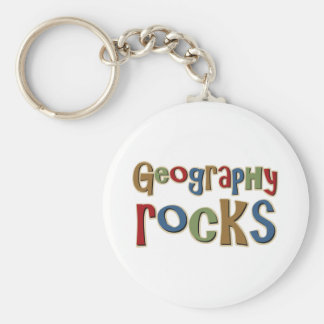 Geography Rocks Basic Round Button Key Ring
