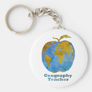 Geography Teacher's Apple Basic Round Button Key Ring