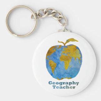 Geography Teacher's Apple Key Ring