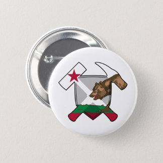 Geologist's Rock Hammer Shield- California Flag 6 Cm Round Badge