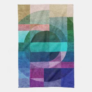 Geometric abstract colorful circle textured tea towel
