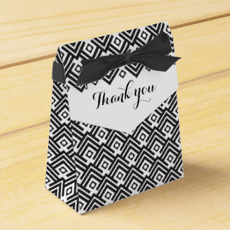 Geometric black and white thank you gift box party favour boxes