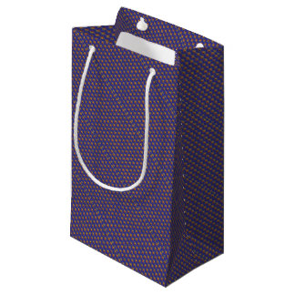 Geometric Blue Pattern and Golden Party Supply Small Gift Bag