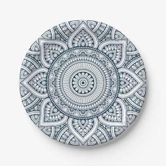 Geometric blue white floral mandala paper plate