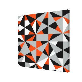 Geometric Bold Retro Funky Orange Black White Gallery Wrapped Canvas