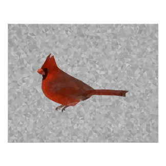 Geometric cardinal art poster