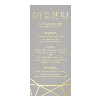 Geometric | Dove Grey and Gold Menu