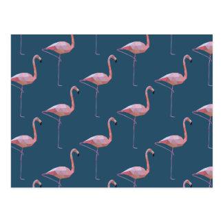 Geometric Flamingo Print Teal Postcard
