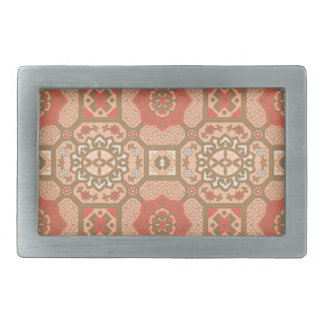 Geometric Floral in Melon Rectangular Belt Buckles