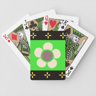 Geometric Flowers green brown black Bicycle Playing Cards