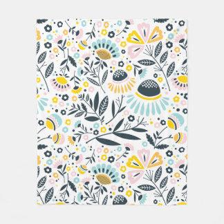 Geometric Garden Floral Pastel Fleece Blanket