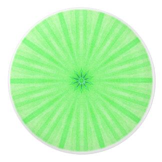Geometric Green Kaleidoscope Spokes Ceramic Knobs