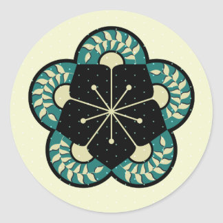 Geometric Heliconia Fan Pattern Classic Round Sticker