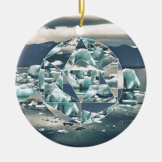 Geometric Icebergs Abstract Christmas Ornament
