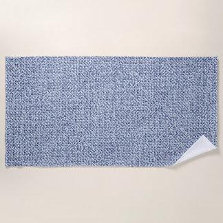 Geometric Itajime Shibori Blue Check Textile Look Beach Towel