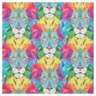 Geometric Lion Head Fabric