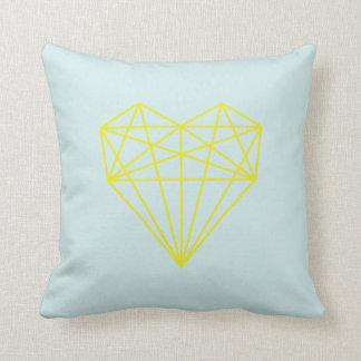 geometric love heart print / blue and yellow throw pillow