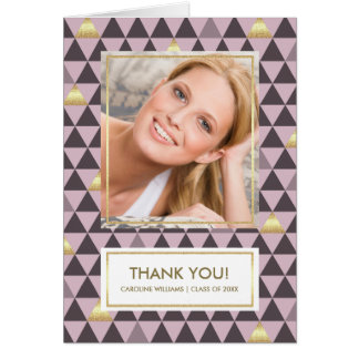 Geometric Pattern Graduation Thank You Photo Cards