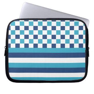 Geometric pattern in blue laptop sleeves