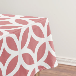 Geometric Pattern Tablecloth in Strawberry Ice