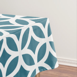 Geometric Pattern Tablecloth in Teal
