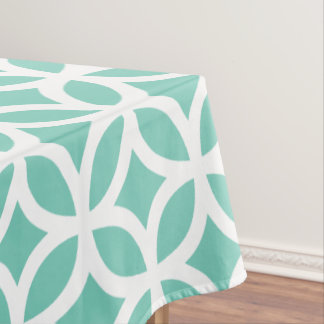 Geometric Pattern Tablecloth in Turquoise