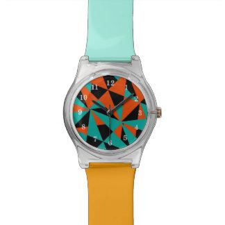 Geometric Pattern Two Tone Funky Wrist Watch