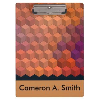 Geometric Patterns | Purple and Orange Cubes Clipboard