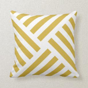 Geometric Pinwheel Stripe in Mustard Yellow Cushion