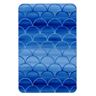 Geometric Prussian Blue Watercolor Fan Shapes Rectangular Photo Magnet