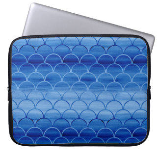 Geometric Prussian Blue Watercolor Scales Laptop Computer Sleeves