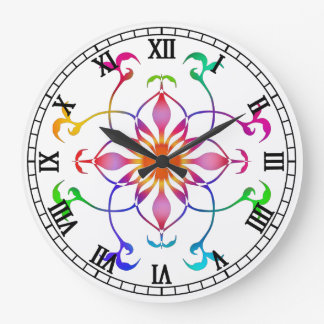 Geometric rainbow flower on white custom large clock
