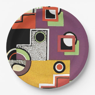 Geometric Retro Abstract Purple and Red Paper Plate