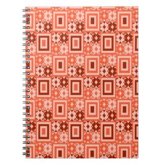 Geometric Retro Pattern : : Orange Brown Spiral Notebook