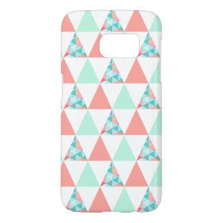 Geometric Triangles Mint Green Coral Pink Pattern