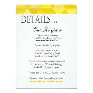 Geometric Triangles Reception Details yellow gold Card