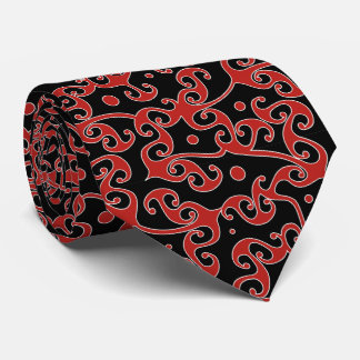 Geometric Tribal Pattern Black and Red Tie