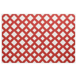 Geometric White Diamonds on Red Fabric