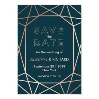 "Geometric | Winter Wedding ""Save the Date"" 13 Cm X 18 Cm Invitation Card"