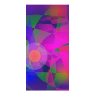 Geometrical Pink Blue and Green Photo Greeting Card