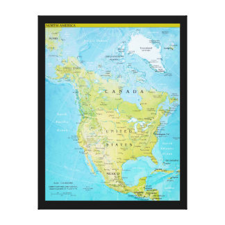 Geopolitical Map of North America Canvas Print