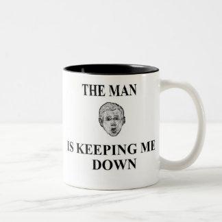 George bush Is Keeping me Down Two-Tone Coffee Mug