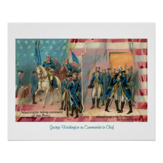 George Washington and Troops Poster