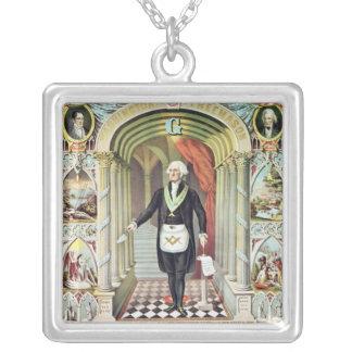 George Washington as a Freemason Silver Plated Necklace