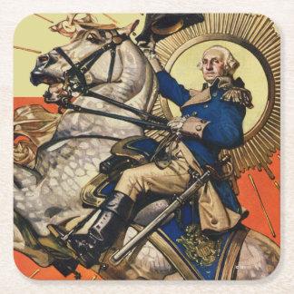 George Washington on Horseback Square Paper Coaster
