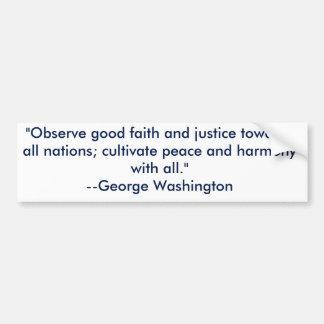 George Washington on peace bumper sticker