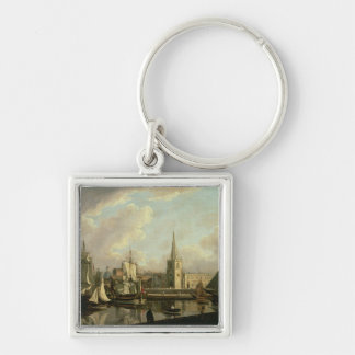 George's Dock Basin, Liverpool, 1797 (oil on canva Key Ring