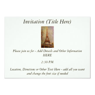 Georges Seurat's Painting: The Eiffel Tower (1889) 13 Cm X 18 Cm Invitation Card